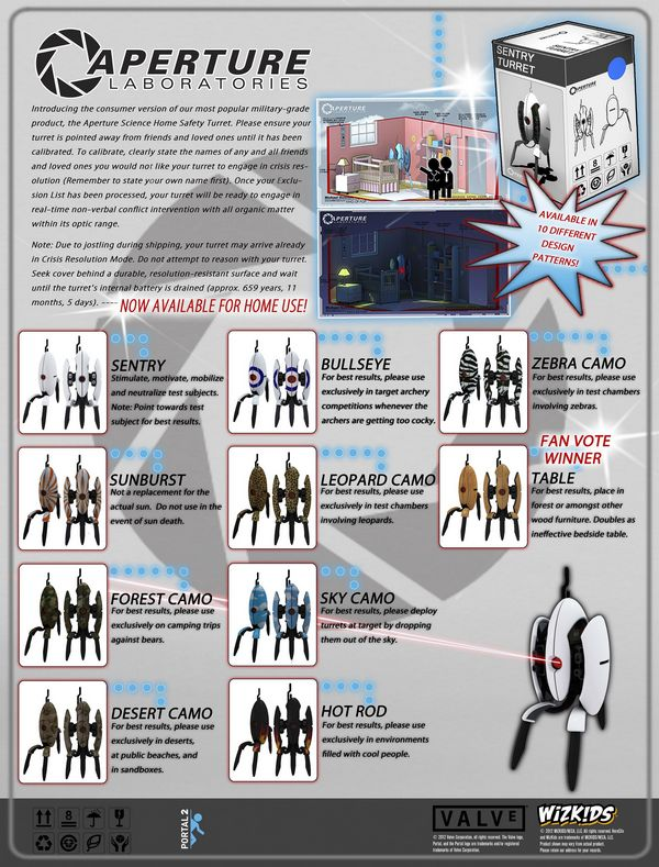 Portal 2 Turret Collectible Figure Set Checklist