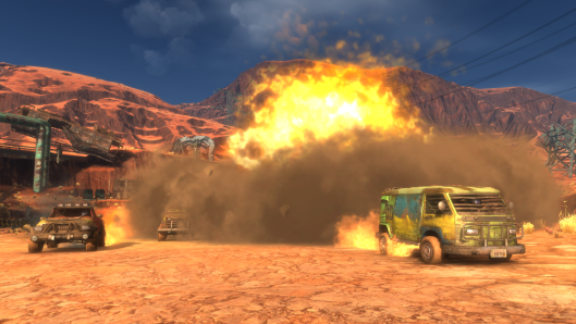 Harm's Way is an arcade racing/shooting game sponsored by Doritos. It's the Mad Max version of Mario Kart.